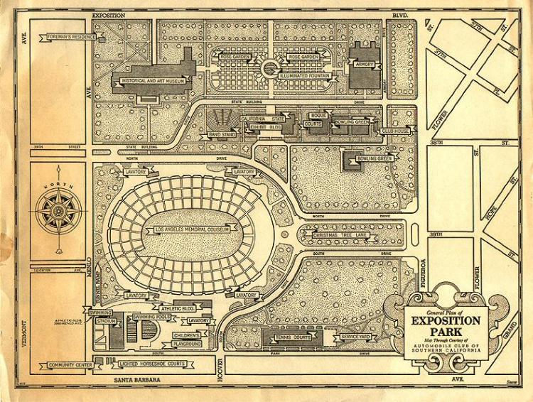 1932 Exposition Park Map